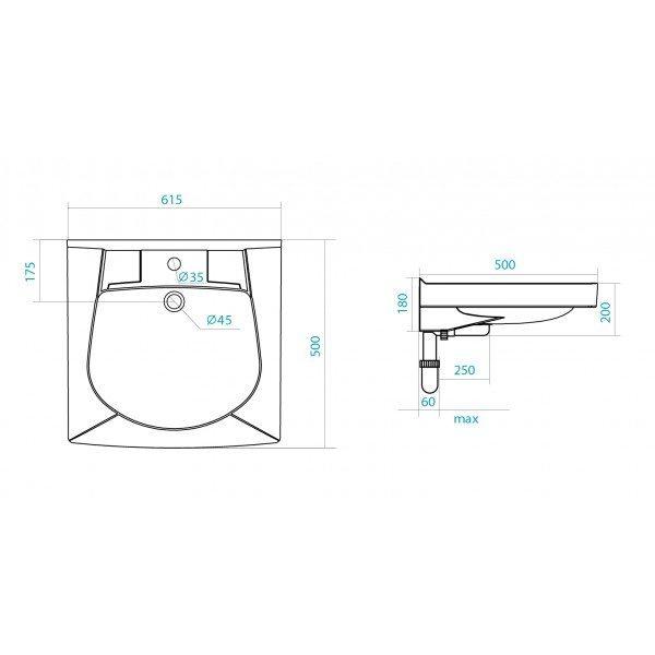 Раковина над стиральной машиной SANTEK Пилот 50 см
