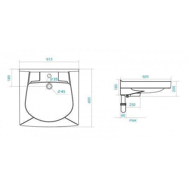 Раковина над стиральной машиной SANTEK Пилот 60 см
