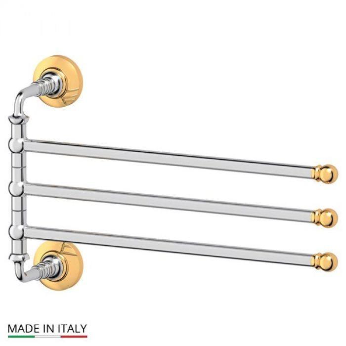 Держатель полотенец поворотный тройной 35 cm (хром/золото) (3SC) STI 111 для ванной
