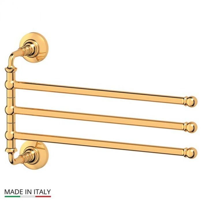 Держатель полотенец поворотный тройной 35 cm (золото) (3SC) STI 211 для ванной