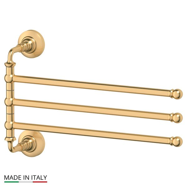 Держатель полотенец поворотный тройной 35 cm (матовое золото) (3SC) STI 311 для ванной