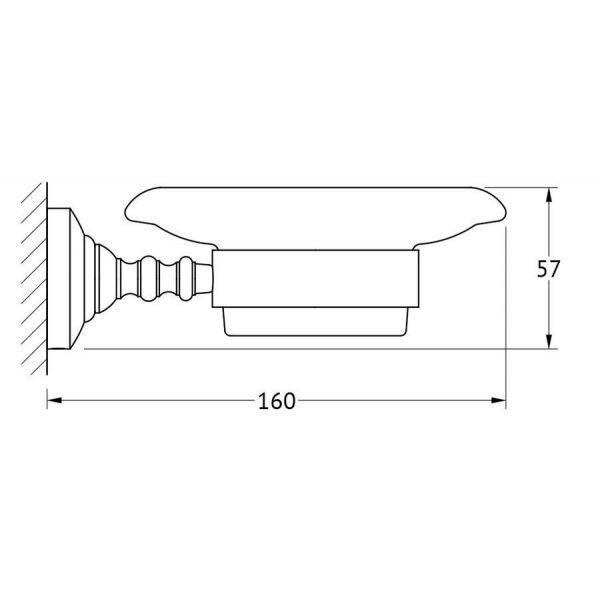 Держатель с мыльницей (фарфор; матовое золото) (3SC) STI 304 для ванной