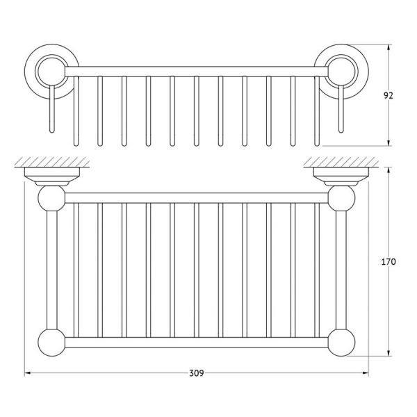 Полочка-решетка 31 cm (античное серебро) (3SC) STI 407 для ванной