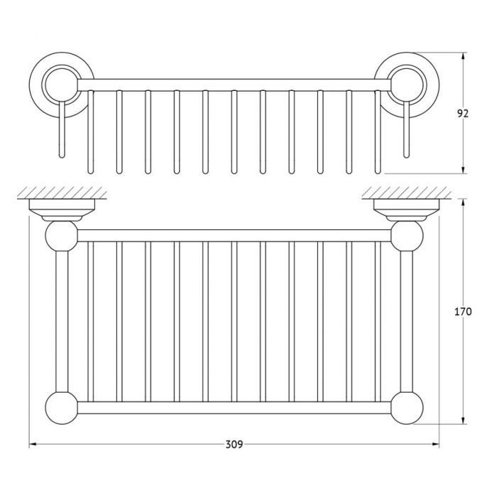 Полочка-решетка 31 cm (античная бронза) (3SC) STI 507 для ванной