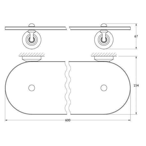 Полка с держателями 60 cm (стекло; античная медь) (3SC) STI 615 для ванной