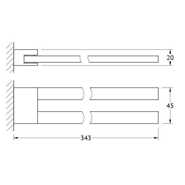 Держатель полотенец поворотный двойной 31 cm (хром) (LINEAG) TIF 007 для ванной