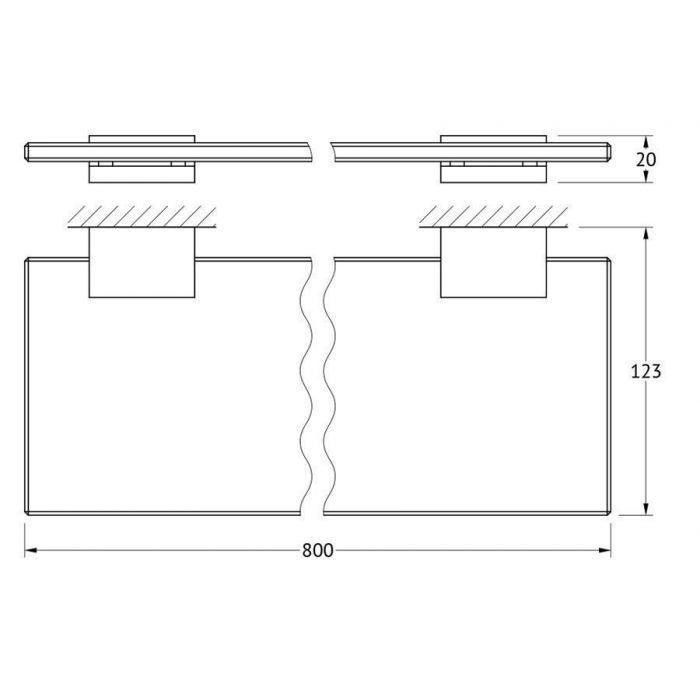 Полка с держателями 80 cm (стекло; хром) (LINEAG) TIF 012 для ванной