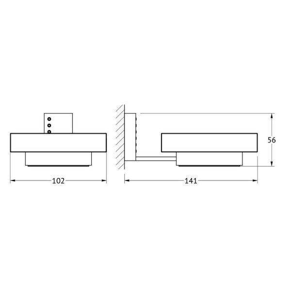 Держатель с мыльницей (стекло; хром - стразы) (LINEAG) TIF 905 для ванной