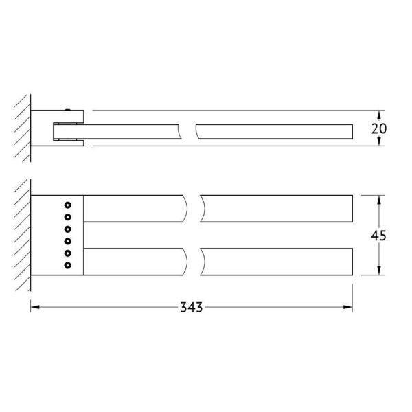 Держатель полотенец поворотный двойной 31 cm (хром - стразы) (LINEAG) TIF 907 для ванной