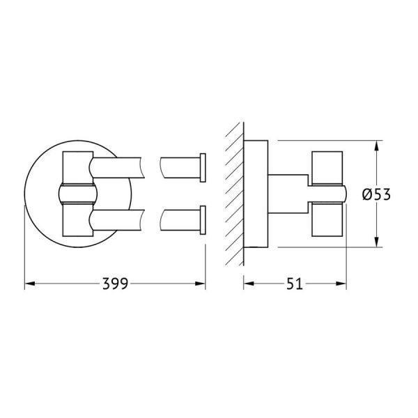 Держатель полотенец поворотный двойной 40 cm (хром) (ARTWELLE) HAR 023 для ванной