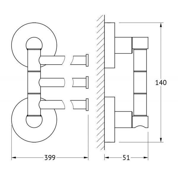 Держатель полотенец поворотный тройной 40 cm (хром) (ARTWELLE) HAR 024 для ванной