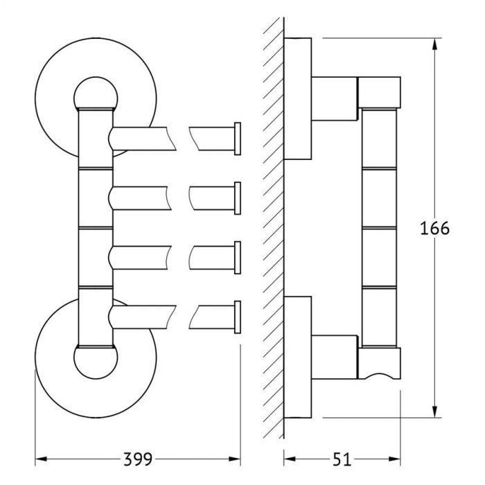 Держатель полотенец поворотный четверной 40 cm (хром) (ARTWELLE) HAR 025 для ванной