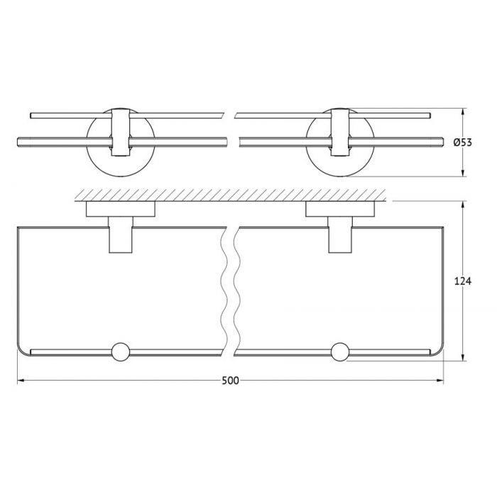 Полка с держателями 50 cm (матовое стекло; хром) (ARTWELLE) HAR 035 для ванной