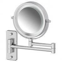 Косметическое зеркало двустороннее с подсветкой x3 (хром) (DEFESTO)