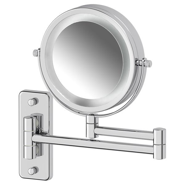 Косметическое зеркало двустороннее с подсветкой x3 (хром) (DEFESTO) DEF 102 для ванной