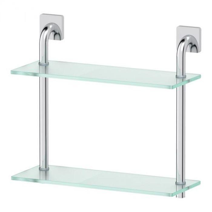 Полка 2-х ярусная 40 cm (матовое стекло; хром) (ELLUX) AVA 035 для ванной