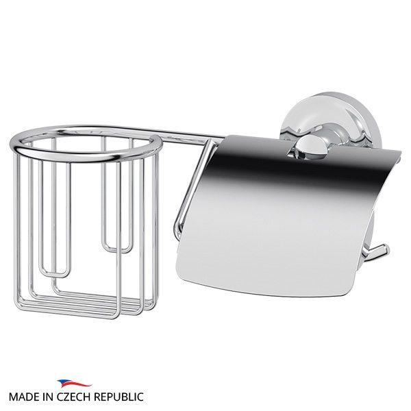 Держатель освежителя воздуха и туалетной бумаги с крышкой (хром) (ELLUX) ELE 068 для ванной