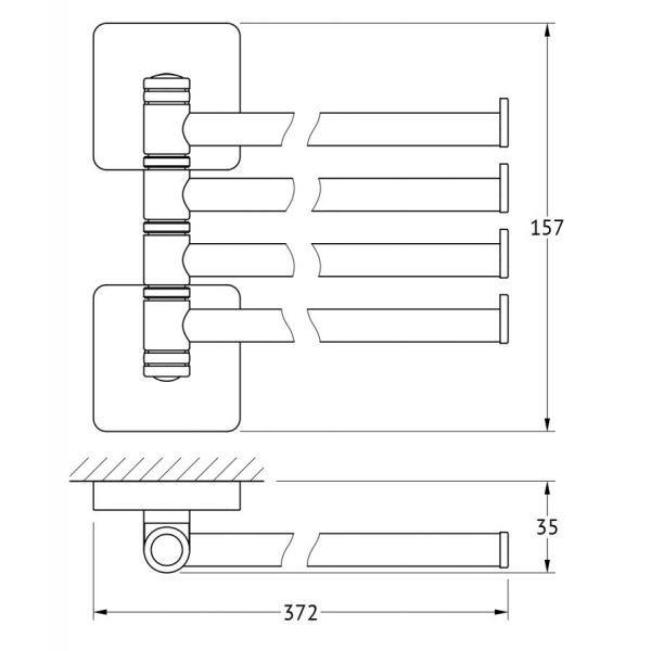 Держатель полотенец поворотный четверной 37 cm (хром) (ELLUX) AVA 018 для ванной