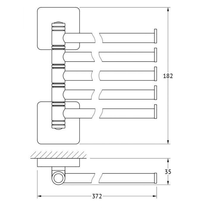 Держатель полотенец поворотный пятерной 37 cm (хром) (ELLUX) AVA 019 для ванной