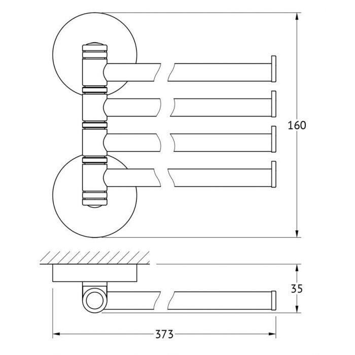 Держатель полотенец поворотный четверной 37 cm (хром) (ELLUX) ELE 018 для ванной