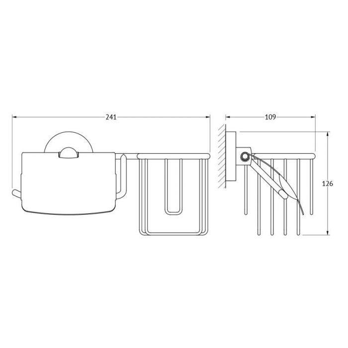 Держатель освежителя воздуха и туалетной бумаги с крышкой (хром) (ELLUX) ELE 069 для ванной