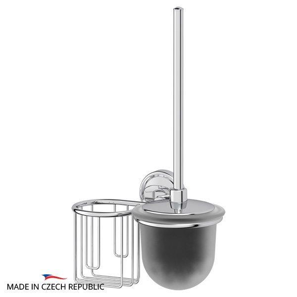 Держатель освежителя воздуха с туалетным ершом с крышкой  (матовый хрусталь; хром) (FBS) ELL 058 для ванной