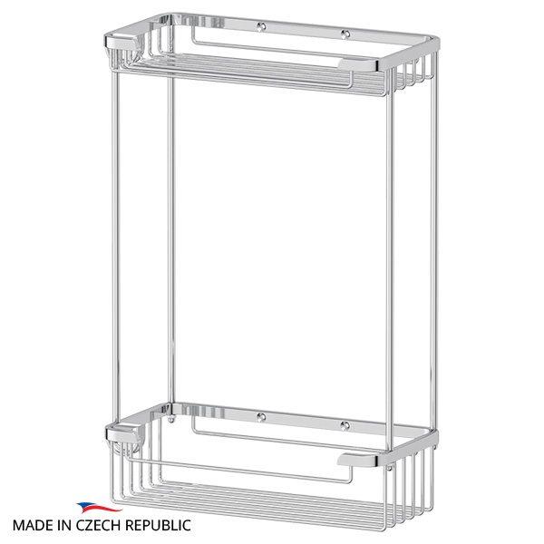 Полочка-решетка с крючками 2-х ярусная 20/20 cm (хром) (FBS) RYN 020 для ванной