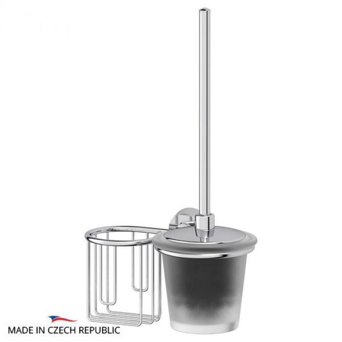 Держатель освежителя воздуха с туалетным ершом с крышкой  (матовый хрусталь; хром) (FBS) VIZ 058 для ванной