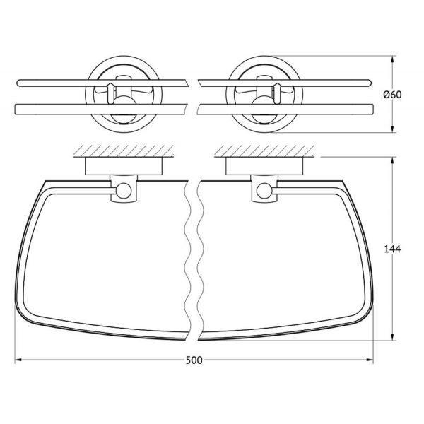 Полка с держателями 50 cm (матовое стекло; хром) (FBS) ELL 015 для ванной