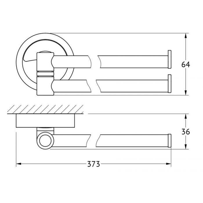 Держатель полотенец поворотный двойной 37 cm (хром) (FBS) ELL 044 для ванной