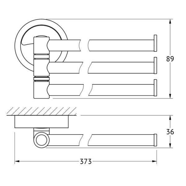 Держатель полотенец поворотный тройной 37 cm (хром) (FBS) ELL 045 для ванной