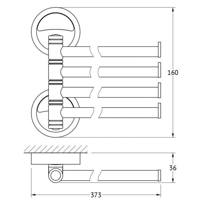 Держатель полотенец поворотный четверной 37 cm (хром) (FBS) ELL 046 для ванной