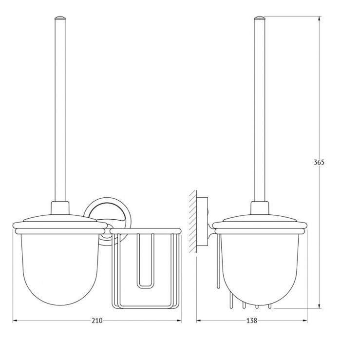 Держатель освежителя воздуха с туалетным ершом с крышкой  (матовый хрусталь; хром) (FBS) ELL 059 для ванной