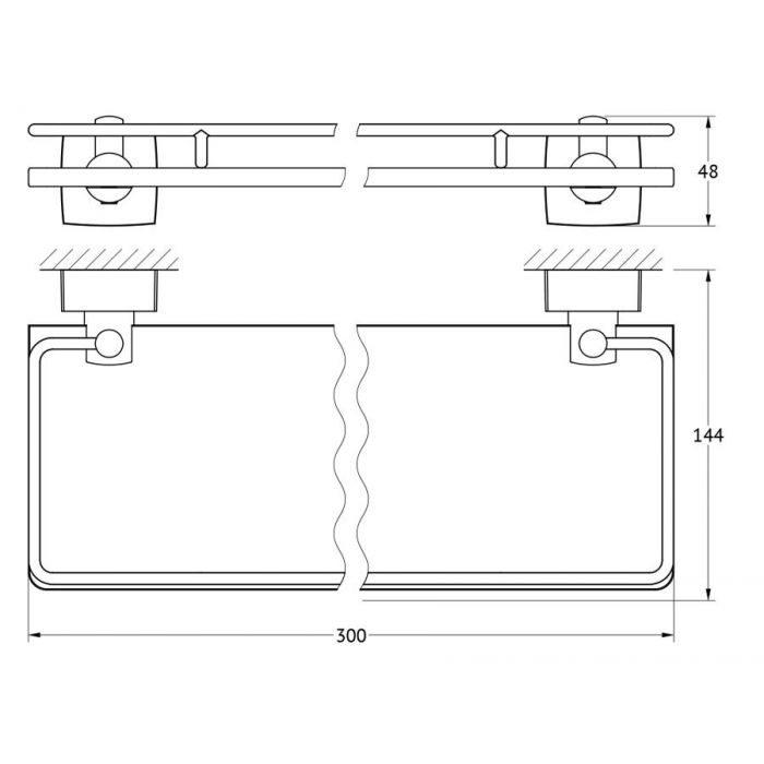 Полка с держателями 30 cm (матовое стекло; хром) (FBS) ESP 013 для ванной