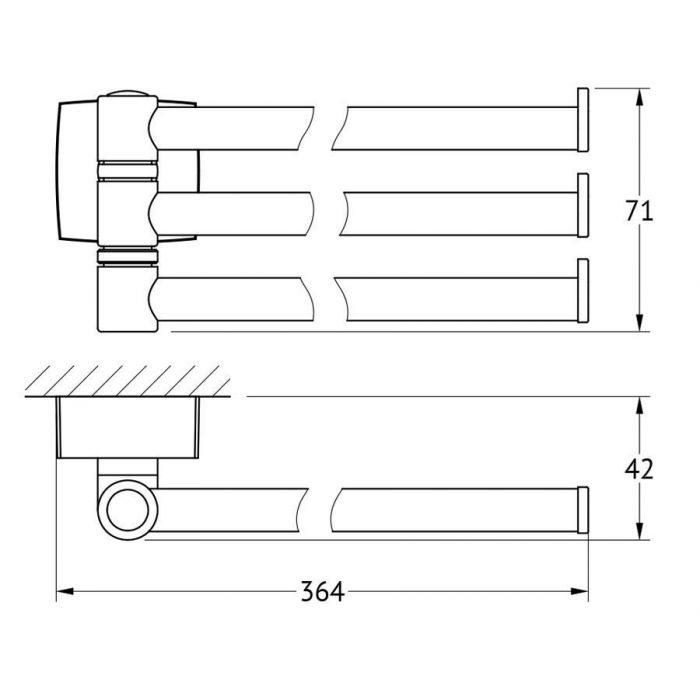 Держатель полотенец поворотный тройной 37 cm (хром) (FBS) ESP 045 для ванной