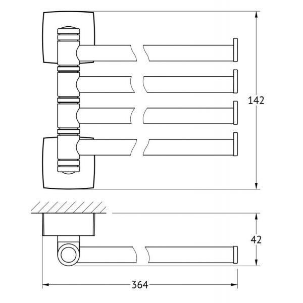 Держатель полотенец поворотный четверной 37 cm (хром) (FBS) ESP 046 для ванной