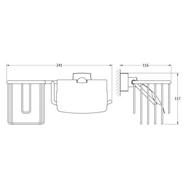 Держатель освежителя воздуха и туалетной бумаги с крышкой (хром) (FBS) ESP 054 для ванной