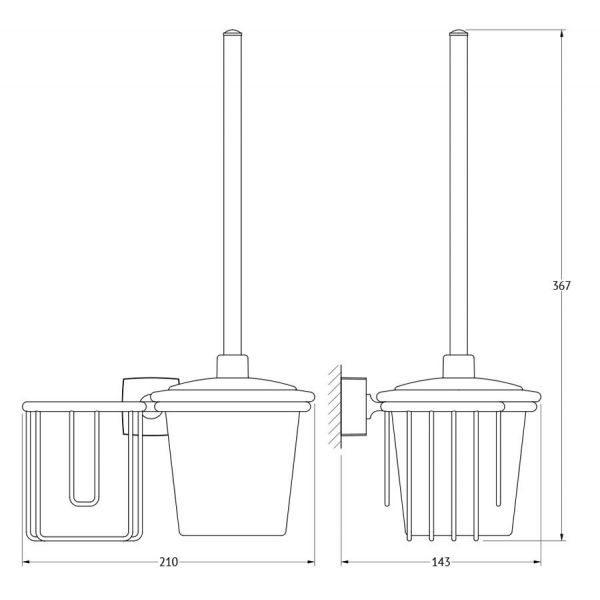 Держатель освежителя воздуха с туалетным ершом с крышкой  (матовый хрусталь; хром) (FBS) ESP 058 для ванной