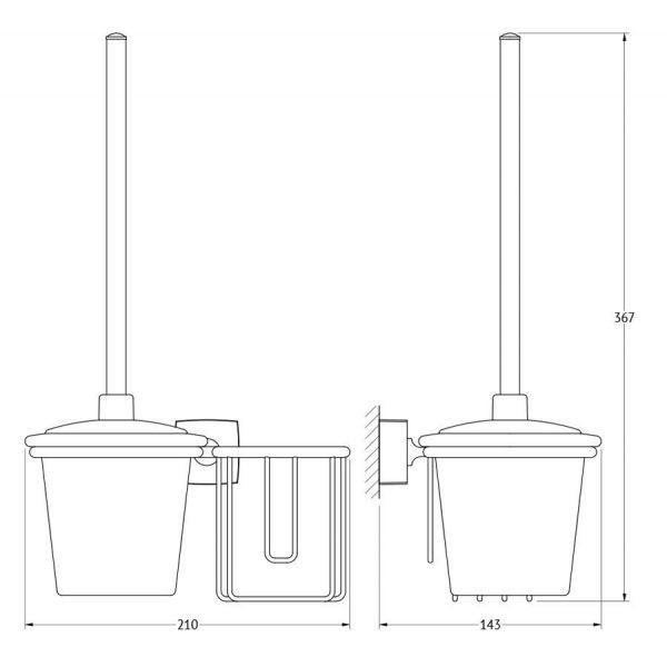 Держатель освежителя воздуха с туалетным ершом с крышкой  (матовый хрусталь; хром) (FBS) ESP 059 для ванной