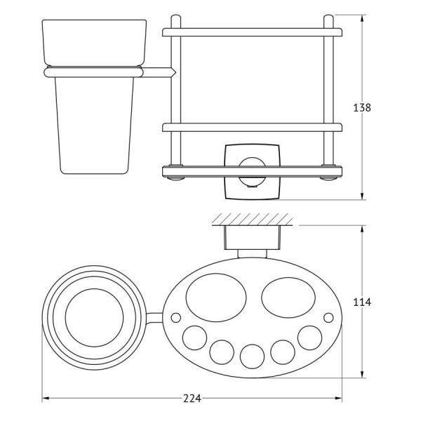 Держатель зубных щеток и пасты со стаканом (матовый хрусталь; хром) (FBS) ESP 061 для ванной