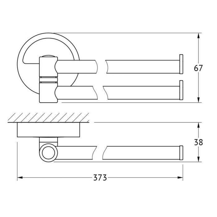 Держатель полотенец поворотный двойной 37 cm (хром) (FBS) LUX 044 для ванной