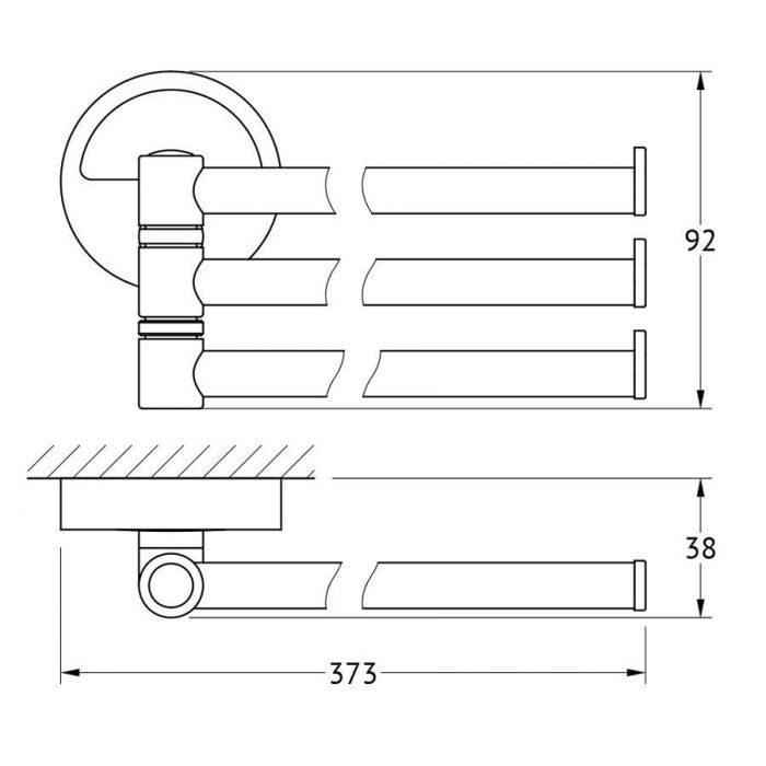 Держатель полотенец поворотный тройной 37 cm (хром) (FBS) LUX 045 для ванной