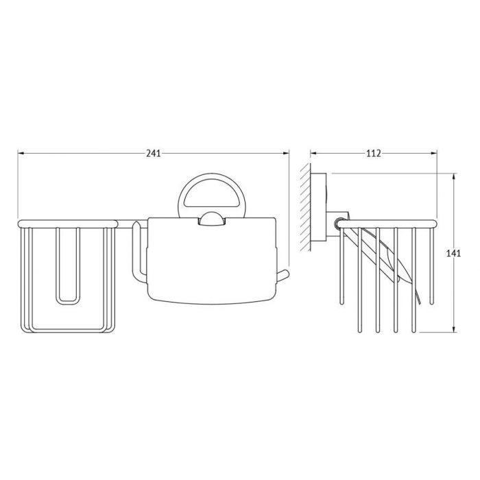 Держатель освежителя воздуха и туалетной бумаги с крышкой (хром) (FBS) LUX 054 для ванной