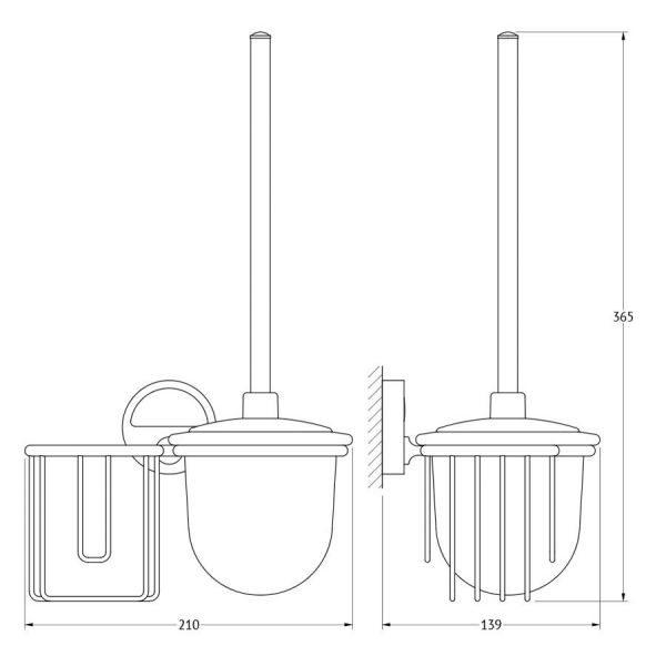 Держатель освежителя воздуха с туалетным ершом с крышкой  (матовый хрусталь; хром) (FBS) LUX 058 для ванной