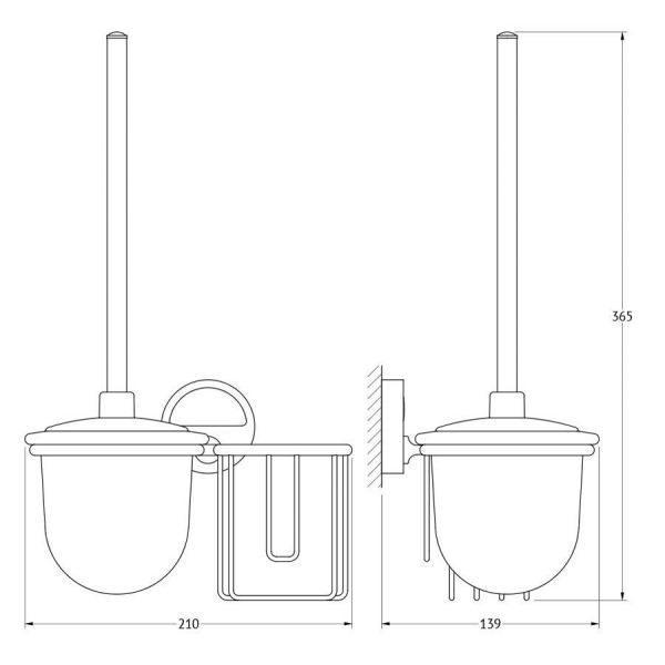 Держатель освежителя воздуха с туалетным ершом с крышкой  (матовый хрусталь; хром) (FBS) LUX 059 для ванной