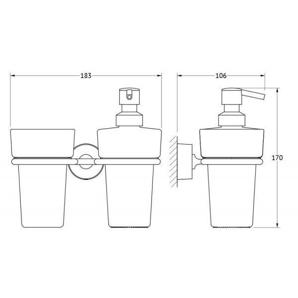 Держатель со стаканом и дозатором жидкого мыла (матовый хрусталь; хром) (FBS) NOS 008 для ванной