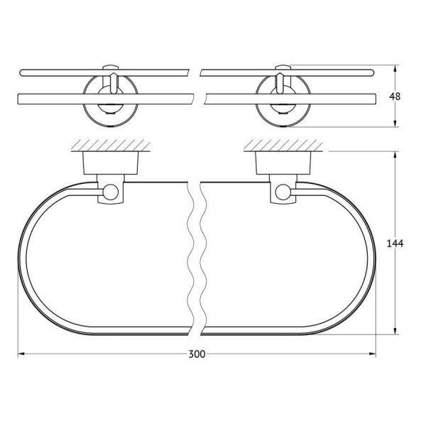 Полка с держателями 30 cm (матовое стекло; хром) (FBS) NOS 013 для ванной