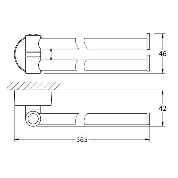 Держатель полотенец поворотный двойной 37 cm (хром) (FBS) NOS 044 для ванной