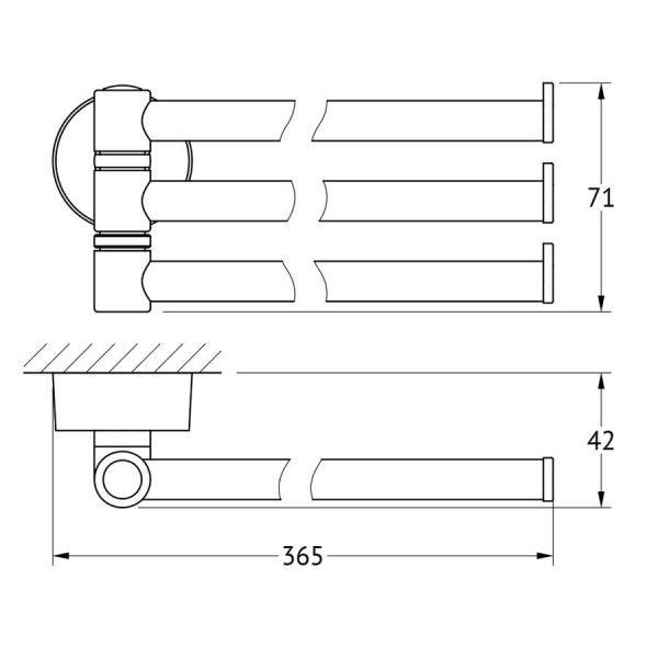 Держатель полотенец поворотный тройной 37 cm (хром) (FBS) NOS 045 для ванной