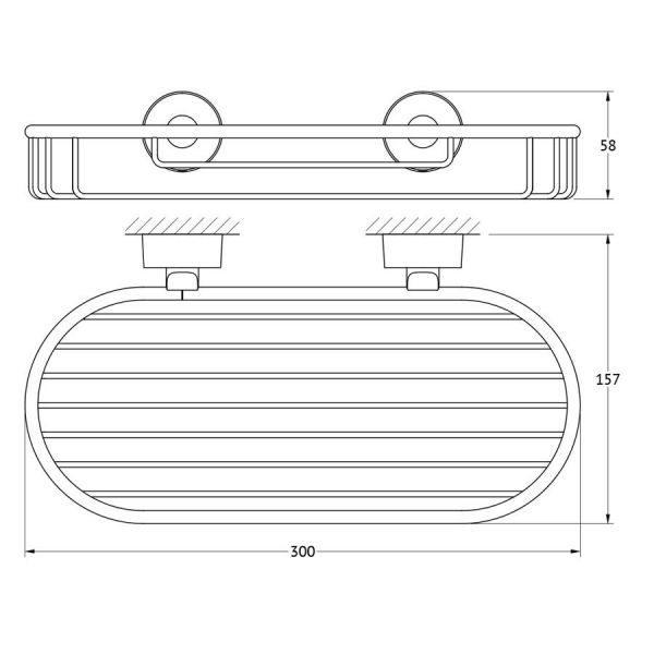 Полочка-решетка 30 cm (хром) (FBS) NOS 049 для ванной